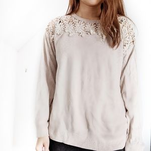 ST John's Bay Gray Floral Lace Sweater